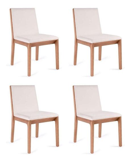 Conjunto Com 4 Cadeiras De Jantar Iris Branco E Castanho