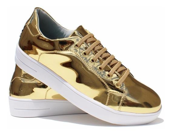 Tênis Sapatênis Sapato Feminino Metalizado Dourado 7100