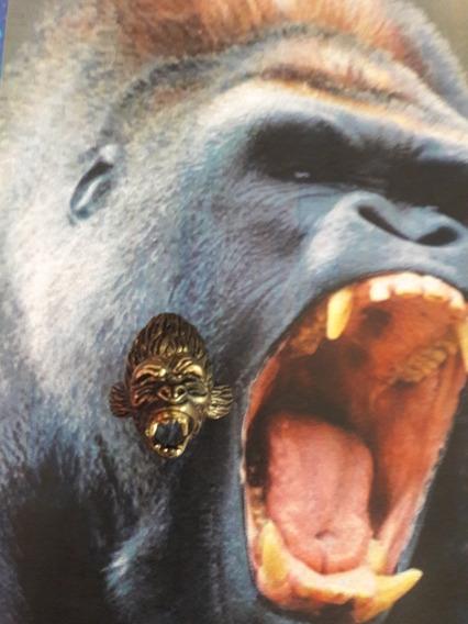 Anillo Cabeza De Gorila Bronce Negro Rustico