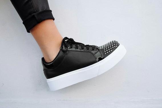 Zapatillas Negras Negro Calzado Mujer Plataforma Y Tachas