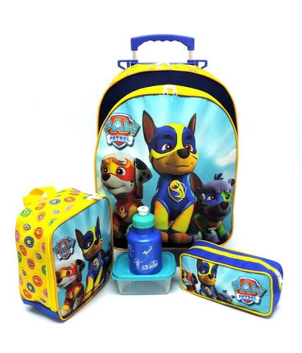 Imagem 1 de 10 de Kit Mochila Infantil Escolar Patrulha Canina Super Filhotes Paw Rodinhas Tam G F5