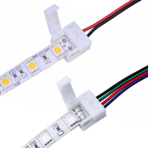 Imagen 1 de 10 de Conector Led Con Cables Tira 5050 Rgb Monocromatica Colores