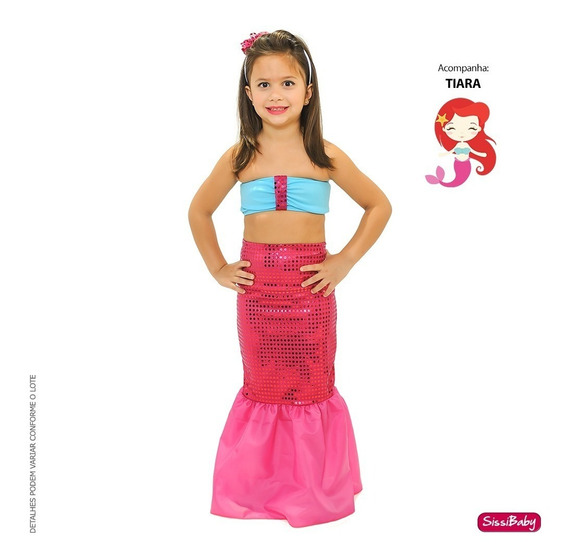 Vestido Fantasia Infantil Pequena Sereia Luxo Ariel Tiara