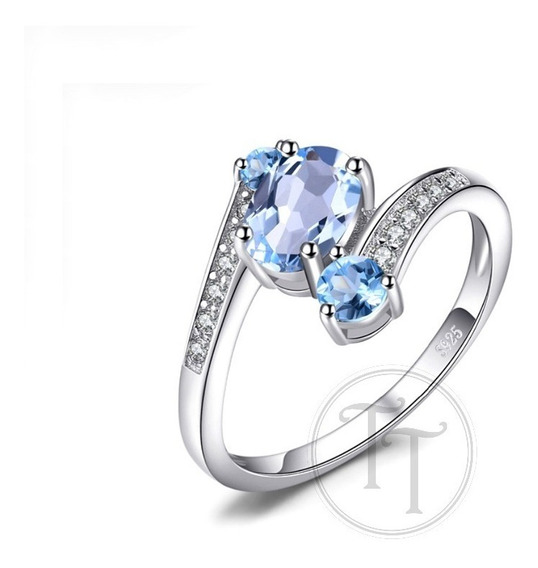 Anillo Topacio Natural Azul 1.1 Ct Plata Esterlina 925