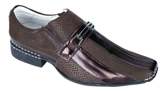 Sapato Casual Couro Alcalay Social Verniz Estampado Liso Gel