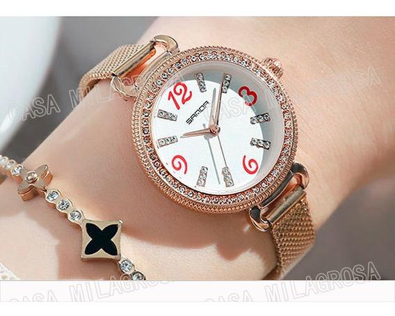 Relógio Feminino Original Luxo Brilhos Rosê C/ Fundo Branco