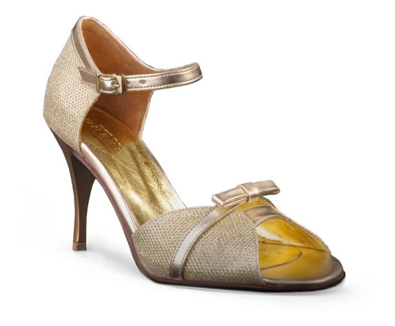 Zapatos De Tango, Salsa, Baile Glitter Oro
