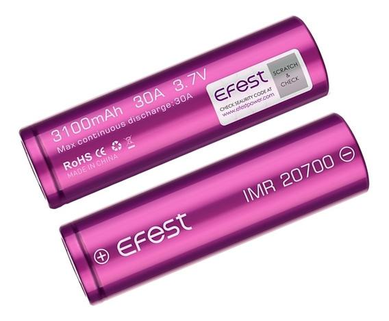 02 Baterias Efest 20700 3100mah 30a 3,7v Imr Flat Original