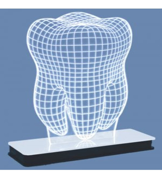 Abajour Decorativo 3d Led Modelo Dente 1 Unidade