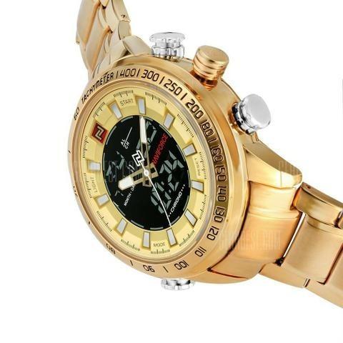 Relógio Masculino Naviforce Dourado Digital Aço Original-top