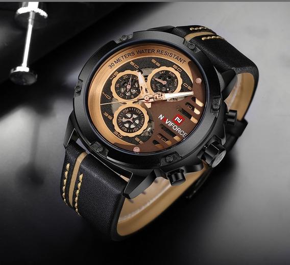 Relógio Social Naviforce Nf 9110 Couro Inox