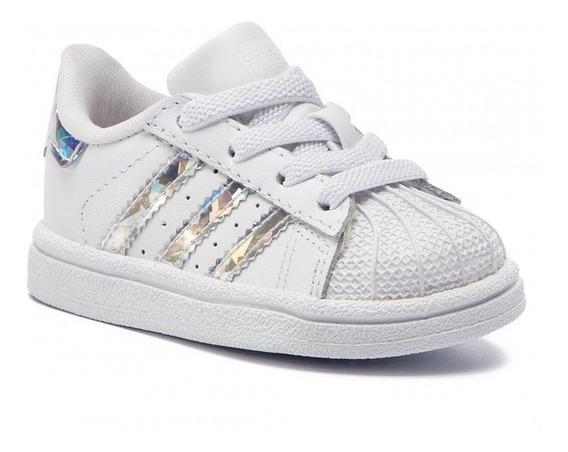 Tenis adidas Superstar Concha Blanco/plata Bebe Cg6707