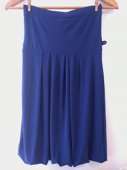 Vestido De Noche Azul Corto Baloon Strapless Mujer Fiesta