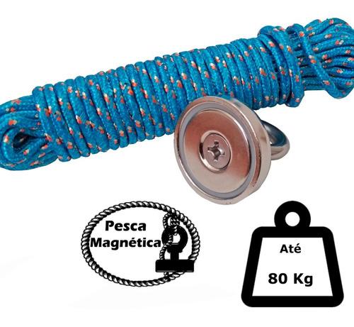 Imagem 1 de 10 de Imã De Neodímio Pesca Magnetica Até 80 Kilos De Tração