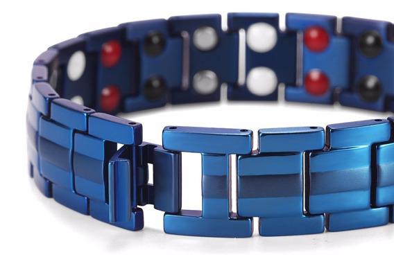 Brazalete Pulsera Titanio Infrarrojo Iones Titanium Xto Azul