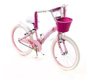 Bicicleta Rodado 20 Kids Nena Lujo Full Canasto Flecos R20