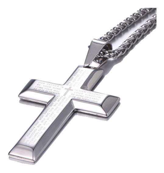 Cordão Corrente Crucifixo Masculina Oração Pai Nosso