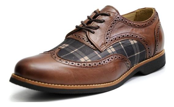 Sapato Masculino Oxford Couro Luxo Com Detalhe Xadrez 68142