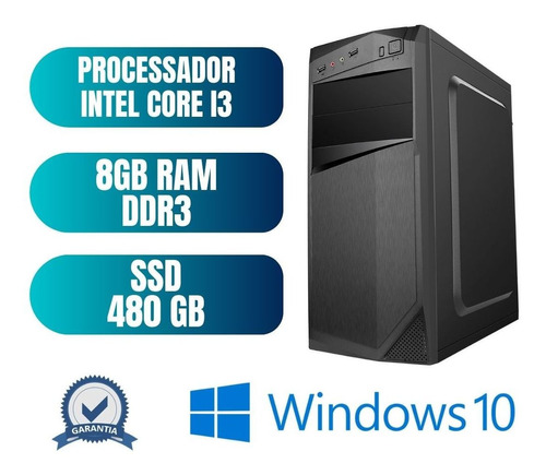 Computador Cpu Desktop Pc Star Core I3 8gb Ssd 480 Win10 Pró