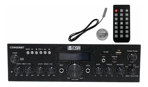 Amplificador Áudio Receiver Bluetooth Som Ambiente Karaokê