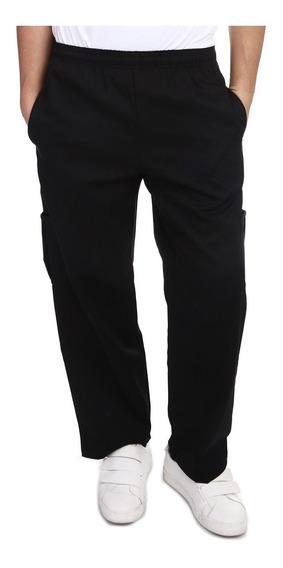Pantalon Para Chef Color Negro Con Bolsas Gabardina Talla M
