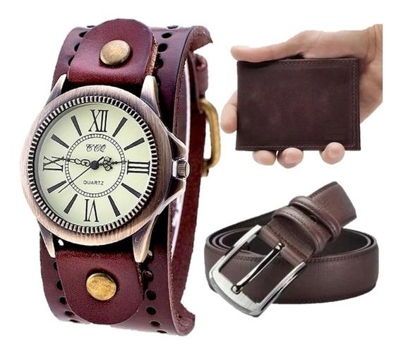 Kit Relógio Masculino Caveira Vintage Couro +carteira +cinto