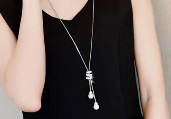 Collar Vintage Dama Oro Blanco Lamado 18k Perla Cristal