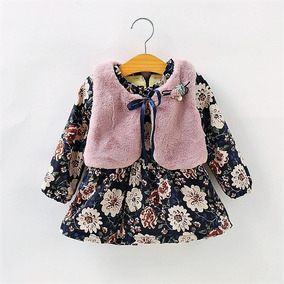Roupas De Bebe Menina Vestido Blogueira Inverno Colete Luxo
