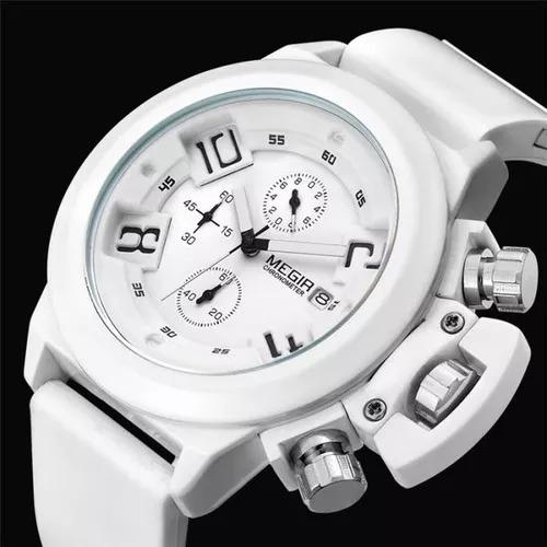 Relógio Masculino Megir Branco Frete Grátis