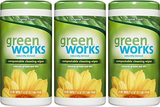 Green Works Compostable Paños De Limpieza, Fresco Original,