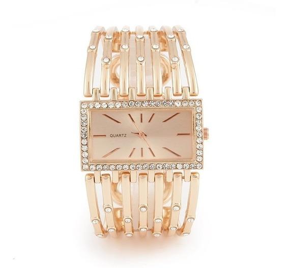 Bracelete Dourado Feminino Relógio Com Pedraria Lindo