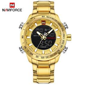 Relógio Naviforce Dourado Grande Pesado Analógico E Digital
