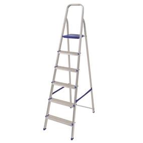 Escada Mor 5104 Em Aluminio C/ 6 Degraus E Fita De Seguranca