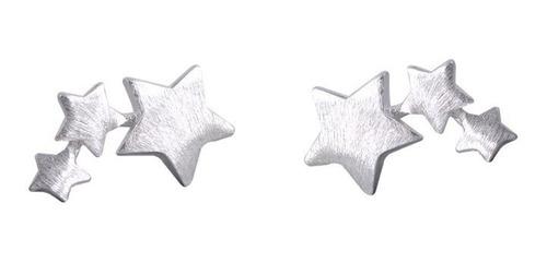 Pendientes Aritos Plata 925, Triple Estrella Anti Alérgico
