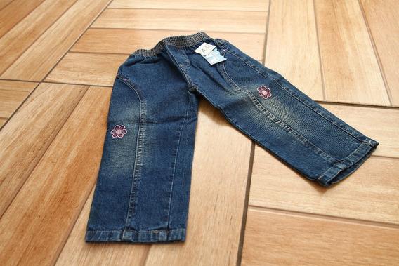 Calça Jeans Feminino Infantil Flor Rosa Bordada - 2 Anos