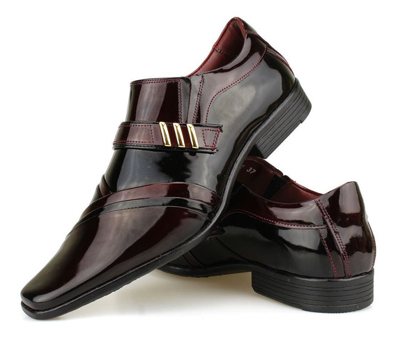 Sapato Social Masculino Envernizado Fivela Vinho 2019