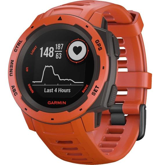 Relógio Gps Garmin Instinct Vermelho Mon Cardíaco Natação