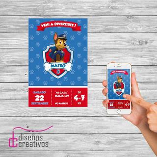Invitación Tarjeta Digital Paw Patrol Cumpleaños