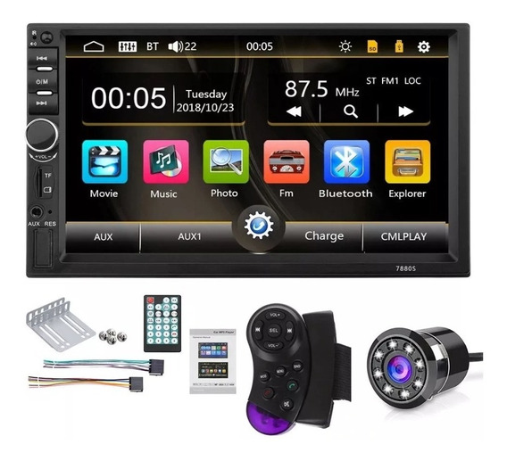 Radio Carro Bluetooth + Camara Usb Sd Pantalla 7 Hd Mod 2020