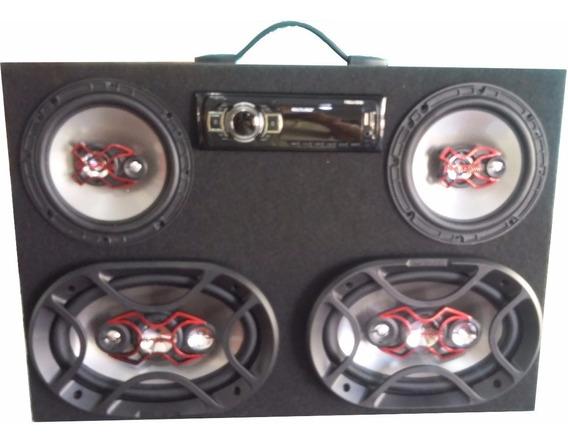 Caixa De Som Com Radio Usb , Sd , Aux. Fm - 12v- 4 Falantes
