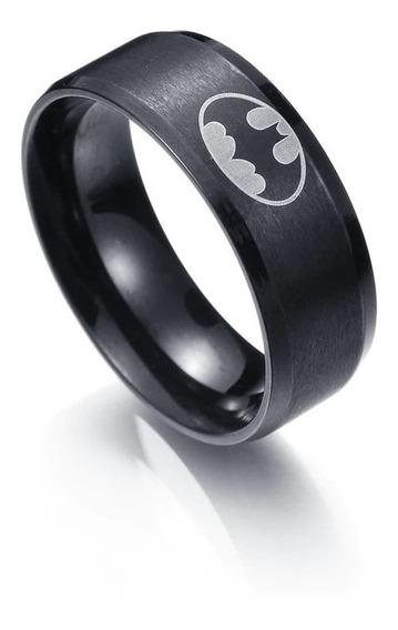 Anel Preto Em Aço Inox Chapeado 8mm Batman Morcego Promoção
