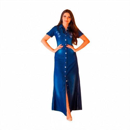 Imagem 1 de 1 de Vestido Feminino Jeans Longo Evangélico Botão Bordado Joyaly
