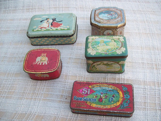 Lote De 5 Hermosas Latas Vintage Antiguas Decorativas.
