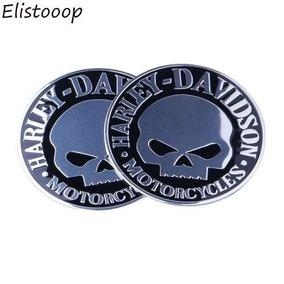 2 Emblema Adesivo Moto Logo Harley Davidson Skull Cromado 9c