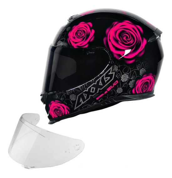 Capacete Axxis Mt Flowers Rosa + Viseira Fume