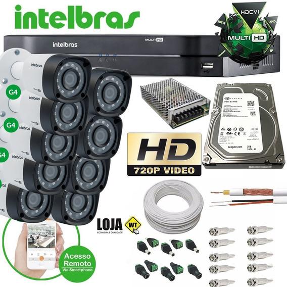 Kit Cftv 8 Câmeras Hd 720p Dvr 16 Canais Intelbras 1016 4ger