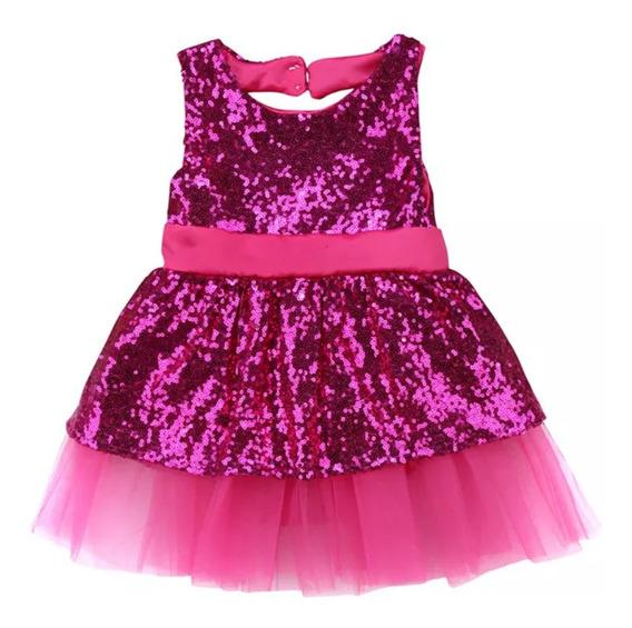 Vestido Festa Verão Bebê Menina Pink Importado T1