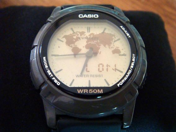 Clásico Reloj Casio Abx-20 Twincept. Vintage. Color Gris.
