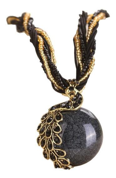 Collar Corto Artesanal Dije Pavorreal Piedras Opalo Elegante