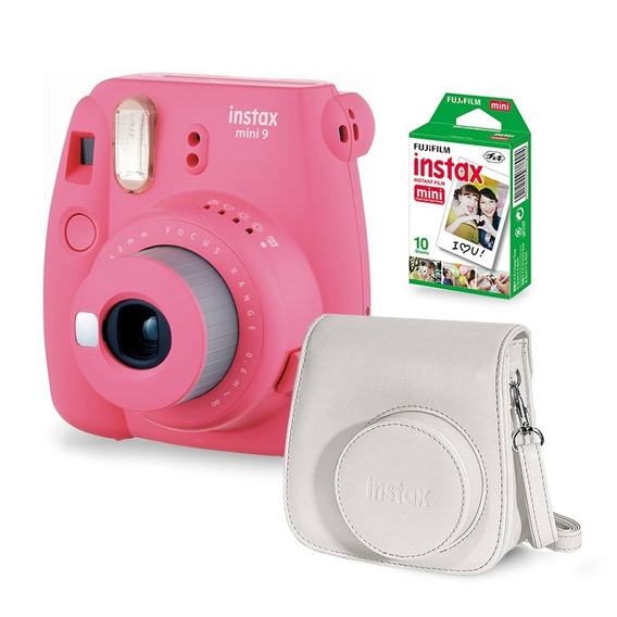 Câmera Instax Mini 9 Flamingo Rosa + Case Câmera + Filme